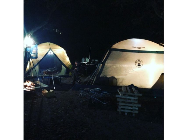 精進湖オートキャンプ場での夜